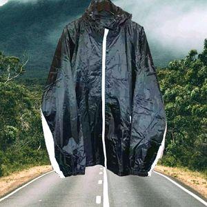 🕝LU Lineauomo: Men's Black Hooded Windbreaker-4X